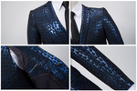 3-Piece Men's Suit Jacquard Slim Fit Suit Blue Gold-Suit-Kenya-LeStyleParfait.Co.Ke