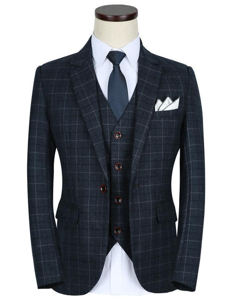3-Piece Men's Suits Plaid Slim Fit 1-Button Suits-Suit-Kenya-LeStyleParfait.Co.Ke