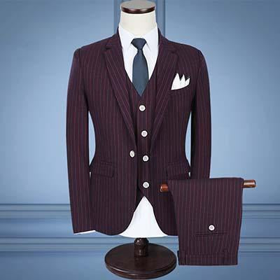 3-Piece Men's Suits Slim Fit 1-Button Suits Striped Suits-Suit-Kenya-LeStyleParfait.Co.Ke