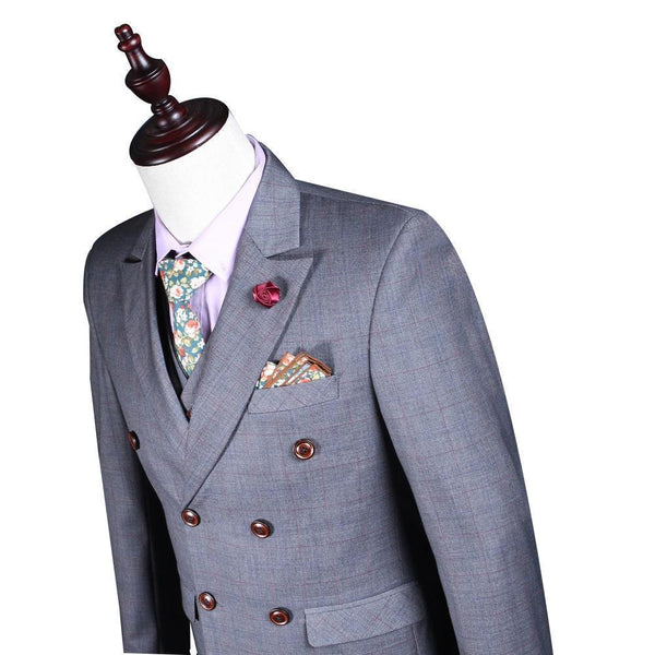 3-Piece Suit Double Breasted Suit Slim Fit Business Style Men's Suit-Suit-Kenya-LeStyleParfait.Co.Ke