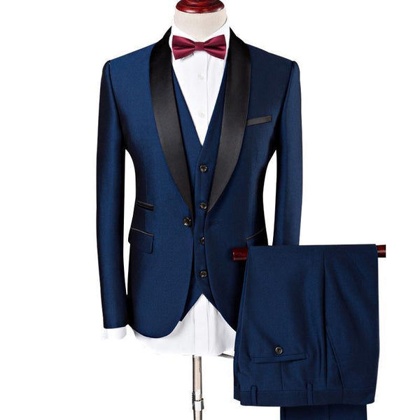 3-Piece Suit Men's Wedding Suits Shawl Collar Slim Fit Suit-Suit-Kenya-LeStyleParfait.Co.Ke