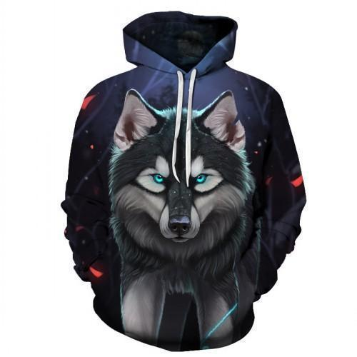 3D Men's Hoodies Angry Wolf Print Hoodies Black Blue-Hoodie-Kenya-LeStyleParfait.Co.Ke
