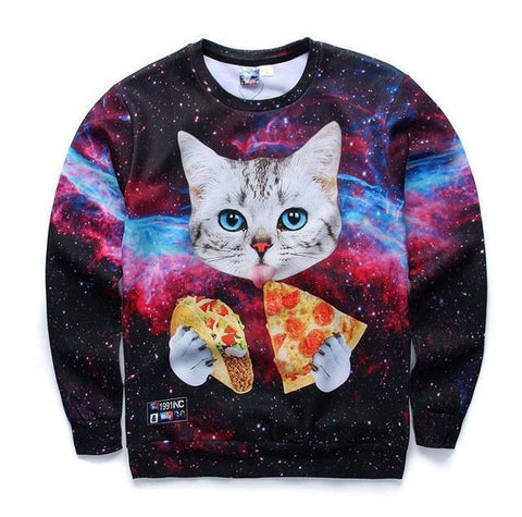 3D Print Men's Sweatshirt Fashion Sweatshirt Cat Print-Men Sweatshirts-LeStyleParfait.Co.Ke
