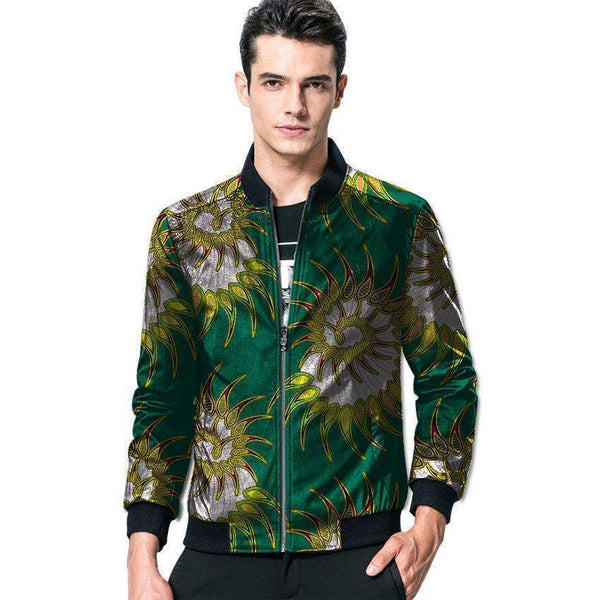 African Baseball Jacket, Kitenge Dashiki Jacket, Casual Jacket-Jacket-Kenya-LeStyleParfait.Co.Ke