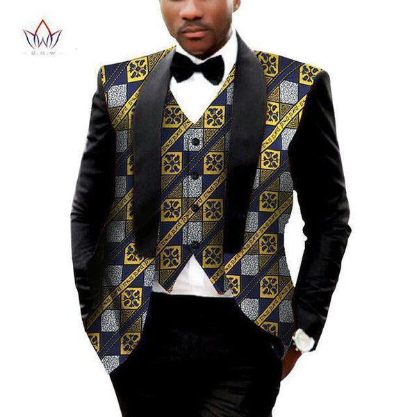 African Mens Blazer and Vest Tailor Made Plus Blazer Gold Blue-Blazer-Kenya-LeStyleParfait.Co.Ke