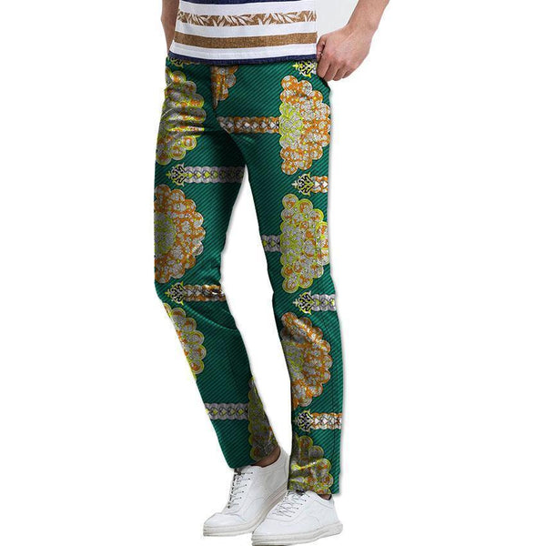 African Mens Pants Kitenge Dashiki Print Trousers Slim Fit Pants-Pants-Kenya-LeStyleParfait.Co.Ke