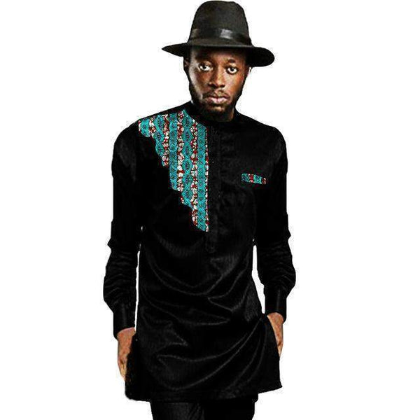 African Men's Shirts, Kitenge Dashiki Shirts, Plus Size African Clothing-Shirt-Kenya-LeStyleParfait.Co.Ke