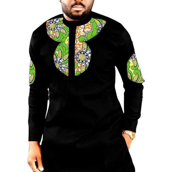 African Men's Shirts Partchwork Slim Fit Dashiki Kitenge Clothes-Shirt-Kenya-LeStyleParfait.Co.Ke