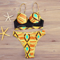 African Print Bikini Push-Up Underwire Padded Bra Swimsuit-Bikini-Kenya-LeStyleParfait.Co.Ke