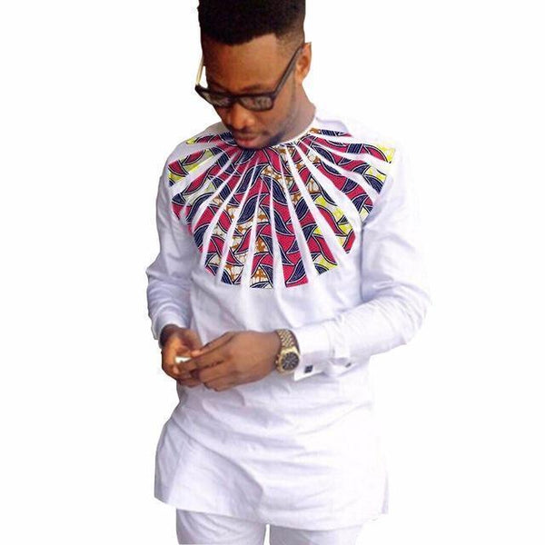African Shirt Ankara Print Dashiki Shirt White Patchwork-Shirt-Kenya-LeStyleParfait.Co.Ke