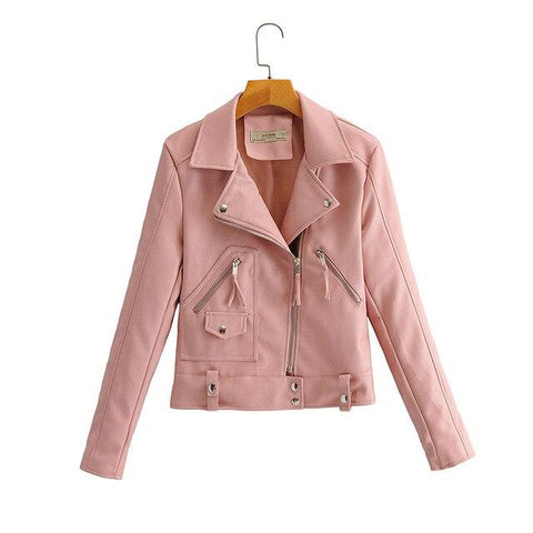 Alexandra Motorcycle Biker Jacket For Women-Jacket-Pink-Le Style Parfait Kenya