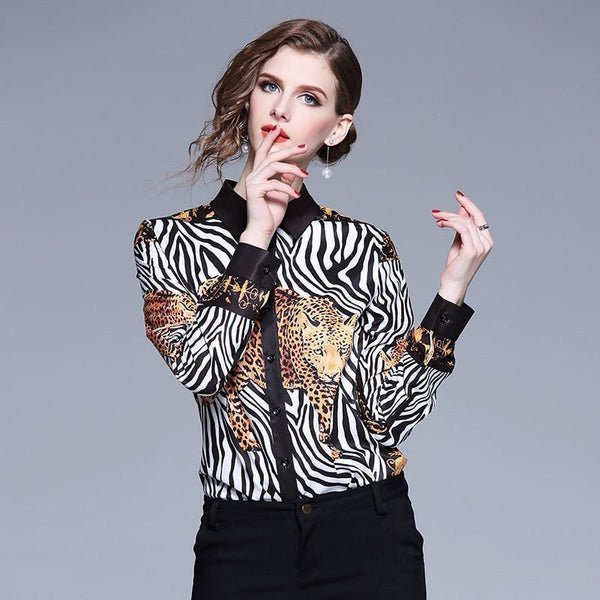 Animal Print Silk Blouse Vintage Women Shirt-Blouse-Kenya-LeStyleParfait.Co.Ke