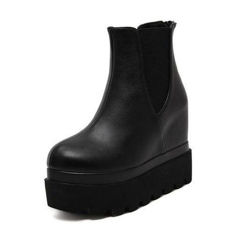 Ankle Boots Women Wedge Boots Leather Shoes Platform-Shoes-4-Le Style Parfait Kenya