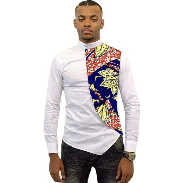 Asymmetrical Men's African Shirts, Men Kitenge Dashiki Shirt, Slim Fit African Clothing-Shirt-Kenya-LeStyleParfait.Co.Ke