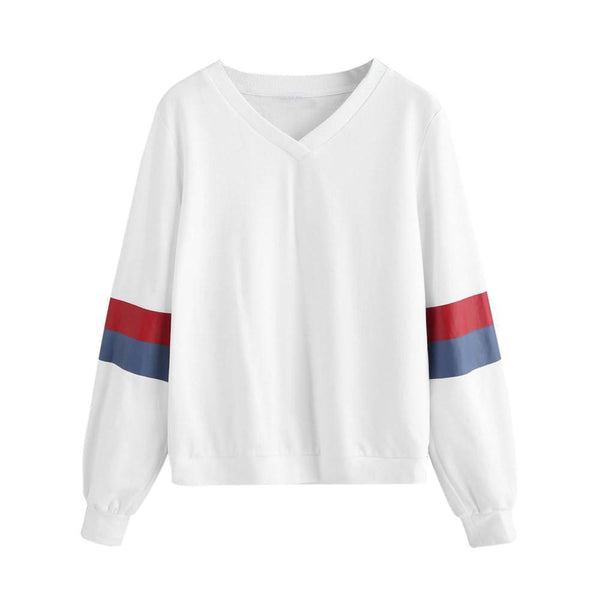 Autumn Fashion Women Sweatshirts Striped Sleeves White-Sweatshirts-Kenya-LeStyleParfait.Co.Ke