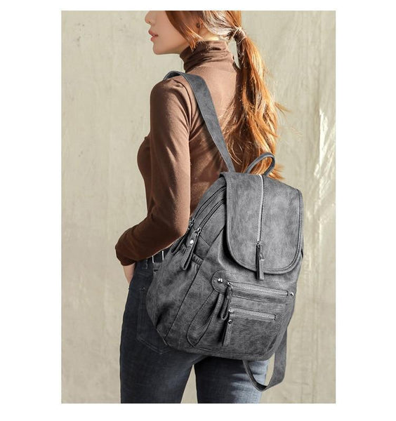 Backpack For Girls, Women's Leather School Backpack-Backpack-Kenya-LeStyleParfait.Co.Ke