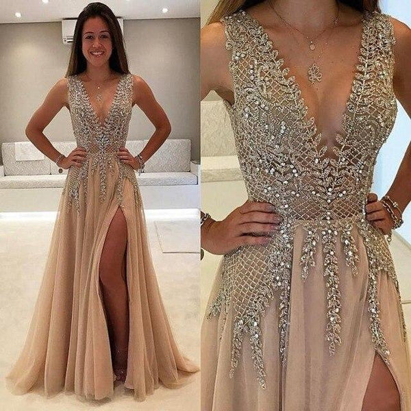 Beaded Long Prom Dress Luxury Backless Evening Gown-Dress-Kenya-LeStyleParfait.Co.Ke