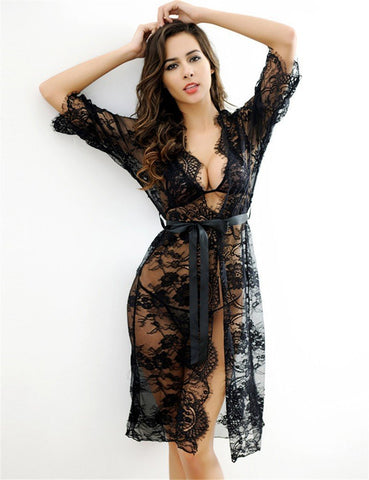 Black Sheer Transparent Lace Lingerie Sexy Sleepwear-Lingerie-Kenya-LeStyleParfait.Co.Ke