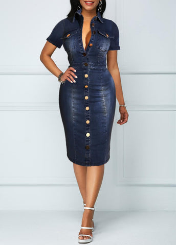 Bodycon Stretch Sexy Denim Dress-Dress-LeStyleParfait.Co.Ke