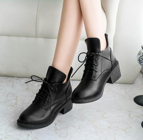 Boots with Lace Up Women's Shoes Retro Round Boots-Shoes-Black-Le Style Parfait Kenya