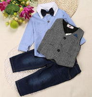 Boy's Clothing Set, Boys 3Pcs Suits T-Shirt, Jeans and Shirts 2-7 Years, Blue-Children's Clothing Set-LeStyleParfait.Co.Ke