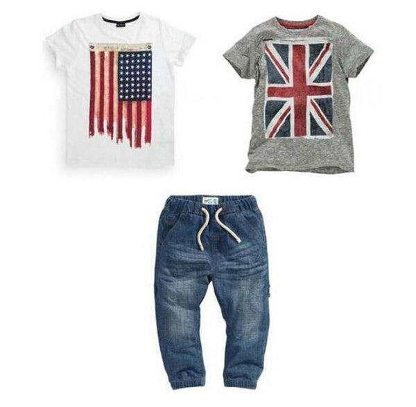 Boy's Clothing Set, Boys 3Pcs Suits T-Shirt, Jeans and Shirts 2-7 Years-Children's Clothing Set-LeStyleParfait.Co.Ke