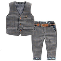 Boys Plaid Suits, Vests and Pants Clothing Set 2-6 Years-Children's Clothing Set-LeStyleParfait.Co.Ke