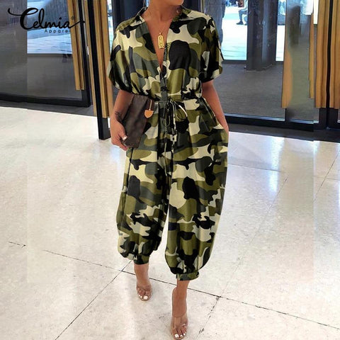 Camouflage Vintage Jumpsuits For Women-Camouflage, Cargo, Casual, Clothing, Fashion, Jumpsuits, Overalls, Plus Size, Vintage, Women-LeStyleParfait.Co.Ke