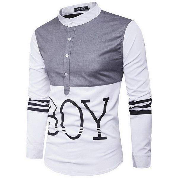 Casual Mens Shirts, Long Sleeve Patchwork Slim Fit Mens Shirts-Shirt-Kenya-LeStyleParfait.Co.Ke