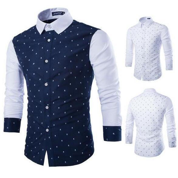 Casual Men's Shirts Sketelon Print White-Shirt-Kenya-LeStyleParfait.Co.Ke