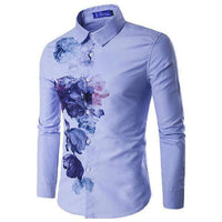Casual Mens Shirts, Slim Fit Floral Dress Shirt-Shirt-Kenya-LeStyleParfait.Co.Ke