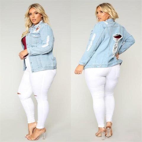 Casual Ripped Denim Jacket For Women-Jacket-LeStyleParfait.Co.Ke