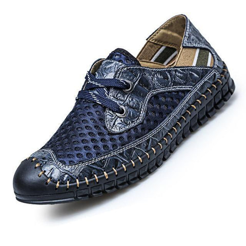 Casual Shoes For Men, Breathable Genuine Leather, Fashion Patchwok Shoes-Shoes-Blue-Le Style Parfait Kenya
