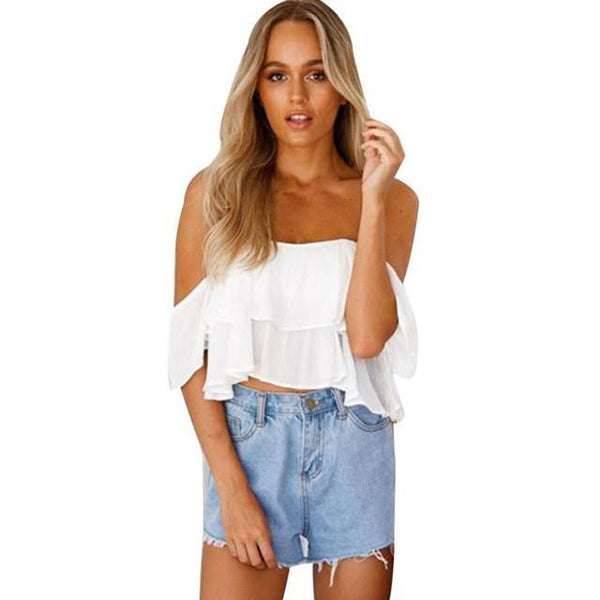Chiffon Women Tops Sleeveless White Crop Tops-Women Tops-Kenya-LeStyleParfait.Co.Ke
