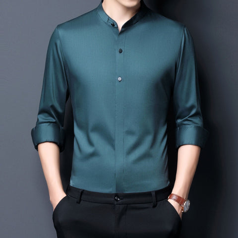 Clapton Satin Mandarin Collar Shirt For Men-Shirt-LeStyleParfait.Co.Ke