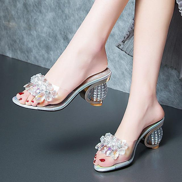 Clear Open-Toe Heeled Slide Sandals-Shoes-Clear White-Le Style Parfait Kenya