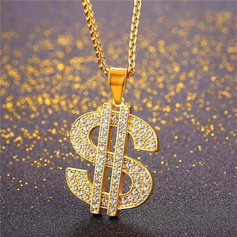 Coin Hip Hop Chains US Dollar Money Necklace & Pendant UNISEX Chains Bling Jewelry-Necklaces & Chains-LeStyleParfait.Co.Ke