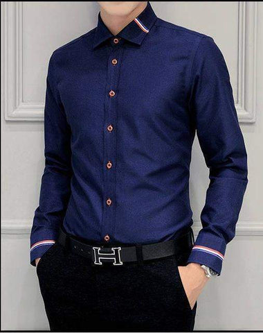 Cotton Formal Dress Shirt For Men-Shirt-Blue-Le Style Parfait Kenya