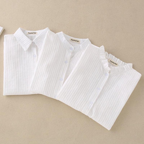 Cotton Shirt Women Blouse 100% Cotton White-Women Tops-Kenya-LeStyleParfait.Co.Ke