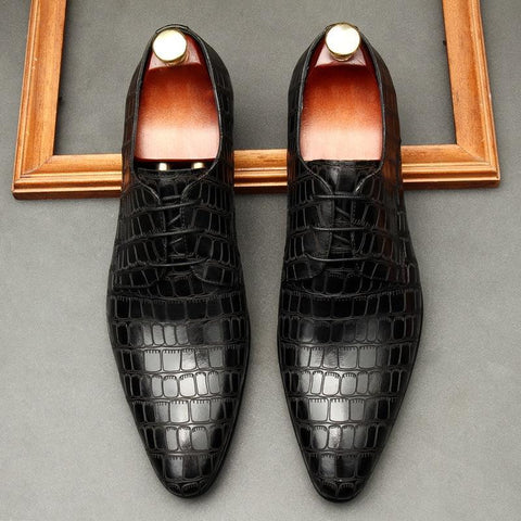 Crocodile Pattern Leather Dress Shoes For Men-Shoes-online-LeStyleParfait.Co.Ke