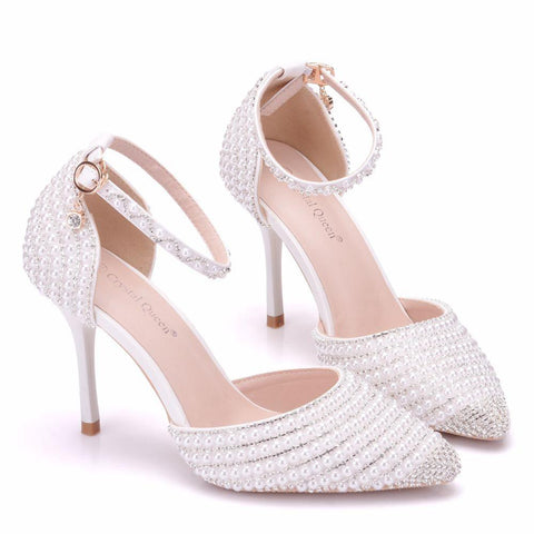 Crystal Pearl Rhinestone Bridal Wedding Shoes-Shoes-LeStyleParfait.Co.Ke