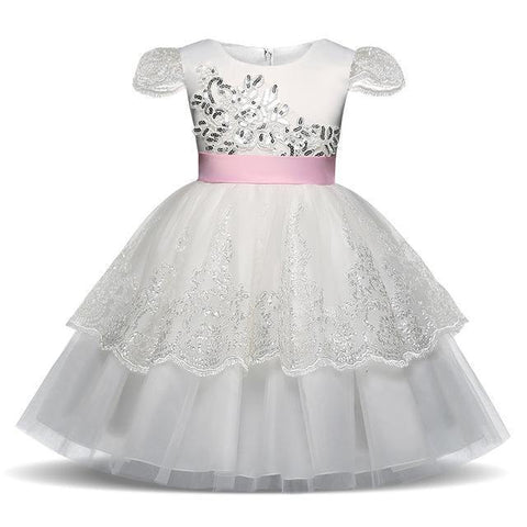 Cute Girls Dress Princess Lace Flower Girl Dress 4-10 Years-Girls Dresses-Kenya-LeStyleParfait.Co.Ke