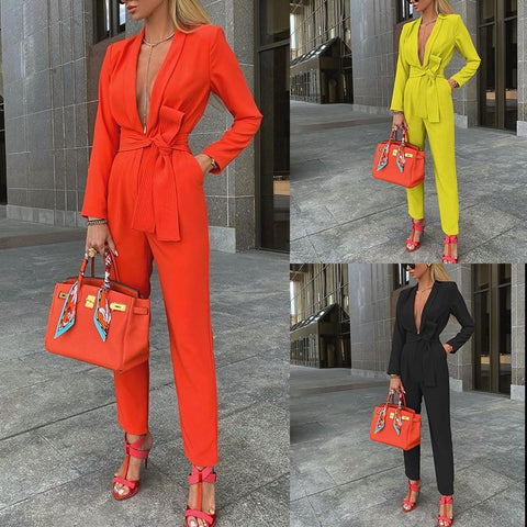 Deep V-Neck Office Lady Jumpsuits For Women-Casual, Clothing, Fashion, Jumpsuits, Overalls, Women, Work-LeStyleParfait.Co.Ke