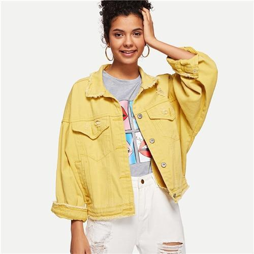 Denim Jacket Women Casual Jacket Yellow-Jacket-Kenya-LeStyleParfait.Co.Ke