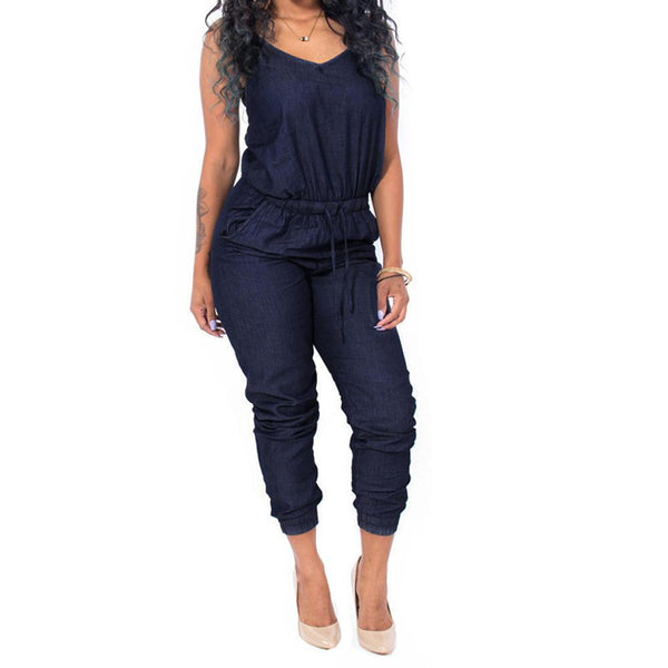 Denim Jumpsuits One Piece Jumpuit Casual Overalls-Jumpsuits-Kenya-LeStyleParfait.Co.Ke