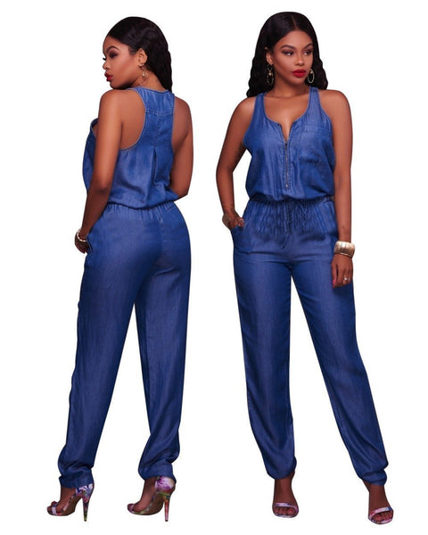 Denim Rompers Pants Sleeless Denim Jumpsuits-Jumpsuits-Kenya-LeStyleParfait.Co.Ke