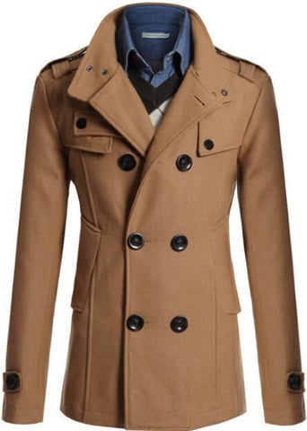 Double Breast Winter Trench Coat For Men-Men's Coats-L-Le Style Parfait Kenya