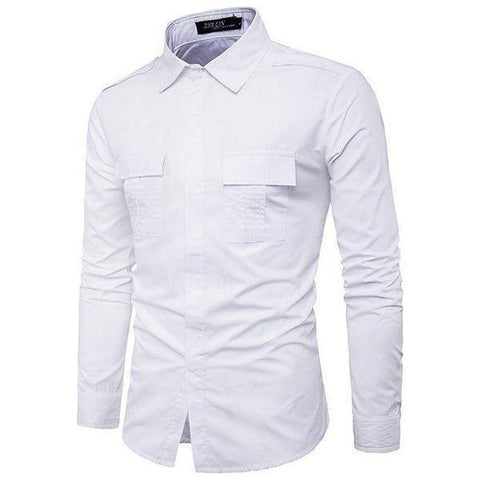 Double Pocket Shirts, Long Sleeve Mens Shirts, Casual Military Slim Fit Shirts-Shirt-Kenya-LeStyleParfait.Co.Ke