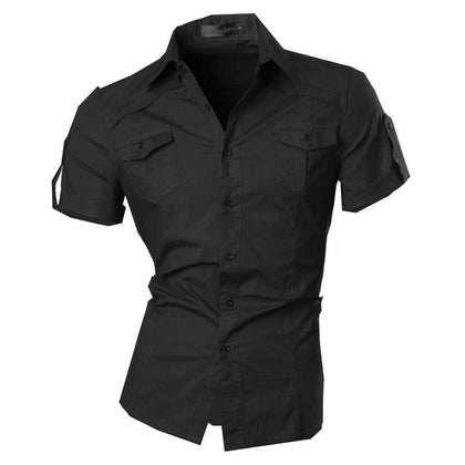 Double Pocket Short Sleeves Shirt For Men-Shirt-Online-Kenya-LeStyleParfait