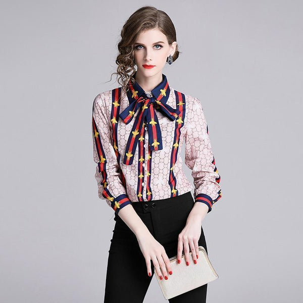 Elegant Silk Blouse Pink Bow Tie Women Shirt-Blouse-Kenya-LeStyleParfait.Co.Ke